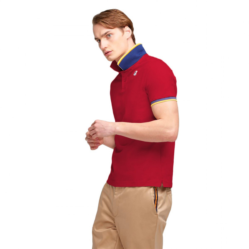 VINCENT CONTRAST POLO ROUGE